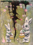 "Annette Reichardt und Stewens Ragone · ""The habbit of the rabbit"" · 2014 · Tempera auf Leinwand · 40 x 30 cm"