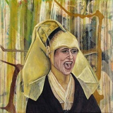 "Annette Reichardt und Stewens Ragone · ""The bright side of life"" · 2014 · Tempera auf Leinwand · 40 x 40 cm"